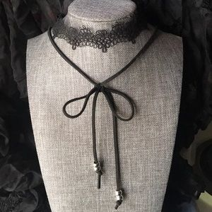 Accessories - Double Layer with Lace and Bow Streaming Choker